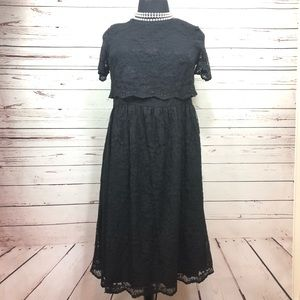 ASOS CURVE Lace Black Dress Short Sleeve Size 18